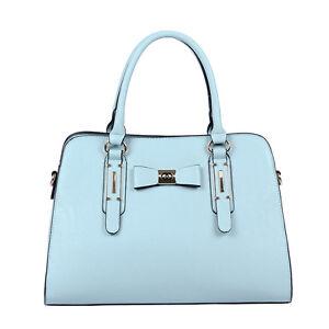 a67a3e23c3 Pretty Designer Faux Leather Pastel Pink Blue Bow Tote Handbag Bag ...