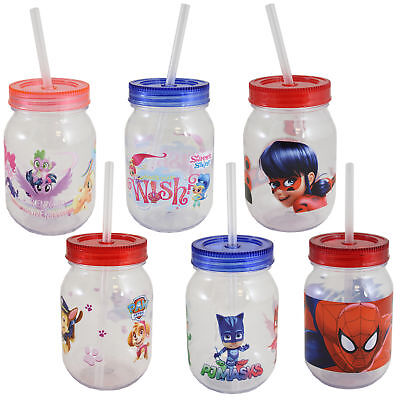 Kinder Charakter Plastik Einmachglas mit Deckel /& Strohhalm My Little Pony