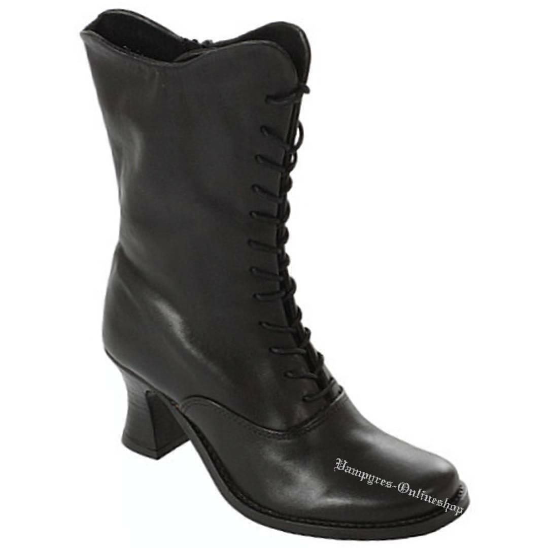 Grandes zapatos con descuento Boots & Braces Lady Boot Black Leather RV Schwarz Leder Damen Stiefel High Heels