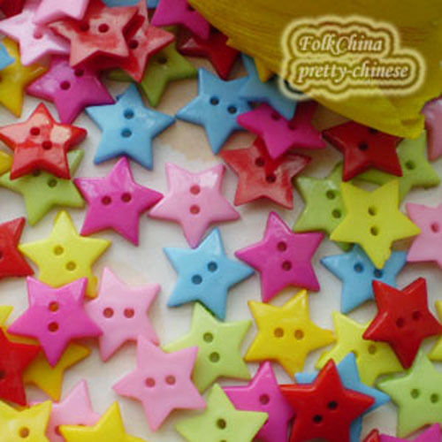 Assorted Flat Star 20mm Plastic Buttons Sewing Scrapbooking Cardmaking S2B20