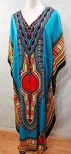 TRUE ROCK WOMEN PLUS ONE FREE SIZE MAXI LONG DASHIKI KAFTAN DRESS TUNIC TEAL 14