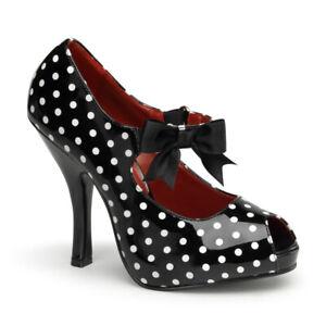 Pin-Up-Couture-Cutiepie-07-Retro-White-amp-Black-Polka-Dot-Mary-Jane-Heels