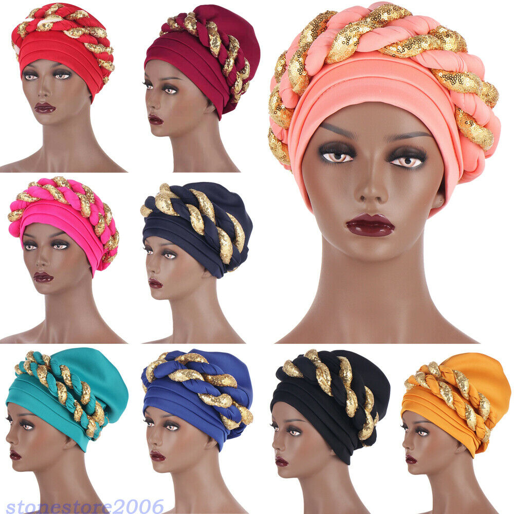 Sequins Turban Cap Women Head Wrap African Auto Geles Aso Oke Headtie Ready Made