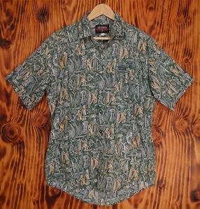 Hawaiian-Shirt-Local-Motion-Green-Abstract-Print-of-Warriors-Size-Medium
