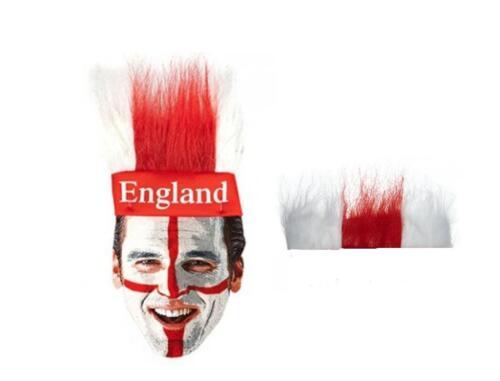 Inghilterra St George Bianco Rosso Testa sostenitori Elasticizzata Fascia Capelli Lunghi Pile