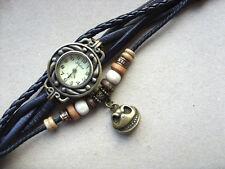 Womens Retro Leather Bracelet NBC Jack Skellington Quartz Wrist Watch Black