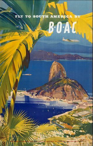 Vintage BOAC Flights to South America Airline Poster Print A3//A4
