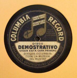 Details about COLUMBIA RECORDS / DISCO DEMOSTRATIVO / SALESMAN SAMPLE  RECORD / 78 RPM RARE