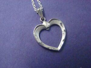 Open Heart Pendant Necklace .925 Sterling Silver 18 in