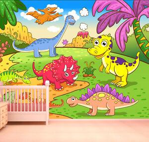 Cartoon dinosaur wallpaper mural feature wall design boys for Dinosaur wall mural uk