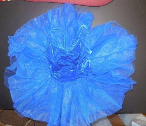 NWT Velvet Ballet Dance Costume Attached tutu Royal Blue ch//adult Pinch Front