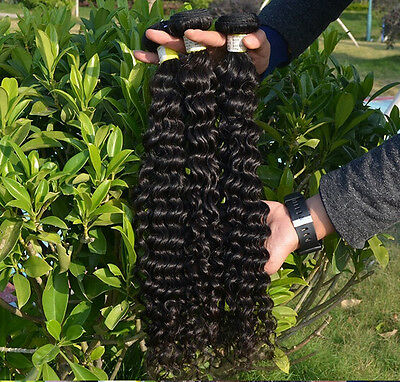 100% 6A Unprocessed Virgin Brazilian deep  wave Hair Natural Black bundles 100g