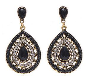 Fashion-Bohemian-Resin-Beaded-Rhinestone-Heart-Water-Drop-Dangle-Stud-Earring