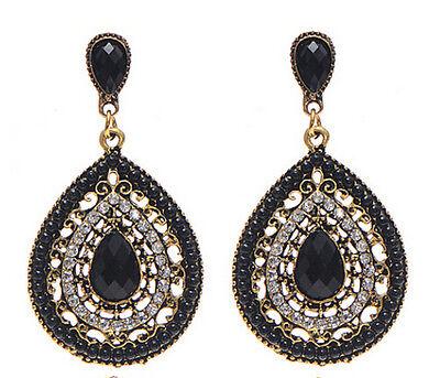 Fashion Bohemian Resin Beaded Rhinestone Heart Water Drop Dangle Stud Earring