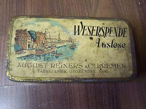 Ancienne-Boite-de-Conserve-Boite-Cigarettes-Etui-a-Weserspende-Selection-Bremen