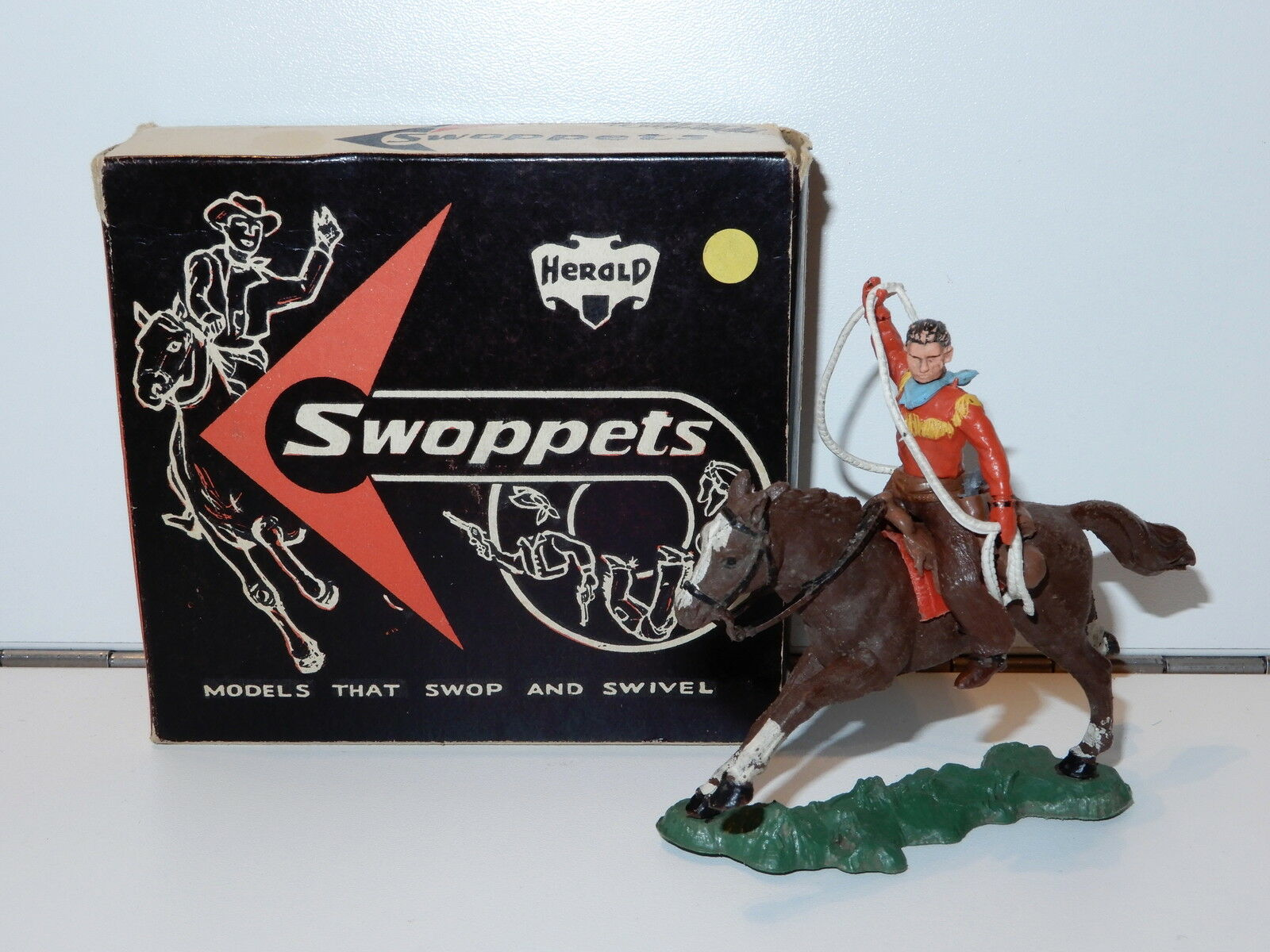 Country swoppets cowboys & indianer   632 h632 montiert cowboy w   lasso mib 60er
