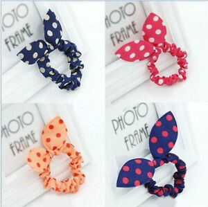 10pcs-Rabbit-Bunny-Ear-Polka-Dot-Hair-Band-Scrunchie-Elastic-Ponytail-Holder