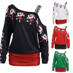 Christmas Tops For Women.Details About Fashion Women Christmas Tops Long Sleeve Off Shoulder Santa Long Blouse Shirt