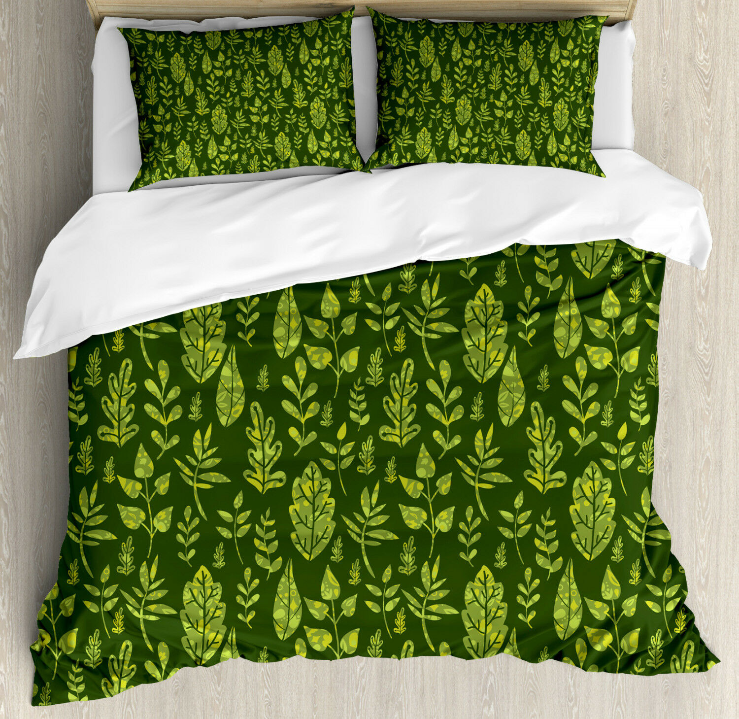 Sage Duvet Cover Set with Pillow Shams Patterned Green Leaves Print