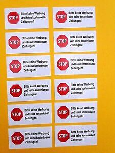Details Zu 12 X Stop Bitte Keine Werbung Und Kostenlosen Zeitungen Briefkasten Aufkleber