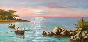 Quadro Paesaggio con figure Marina al Tramonto Dipinto ad Olio firmato Baldini