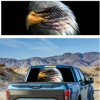 PERFORATED AMERICAN FLAG BALD EAGLE USA MADE DECAL STICKER TRUCK VEHICLE WINDOW