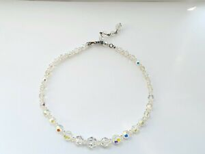 """Vintage 50s 15.5"""" Sparkly Aurora Borealis Faceted Glass Necklace"""
