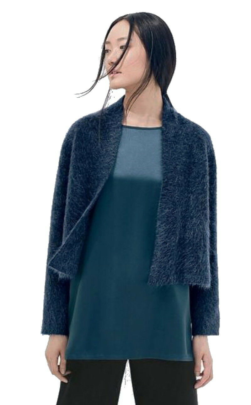 298 Eileen Fisher Mohair Plush Melange Cardigan Medium 10 10 10 12 SOFT Italian Knit 147473