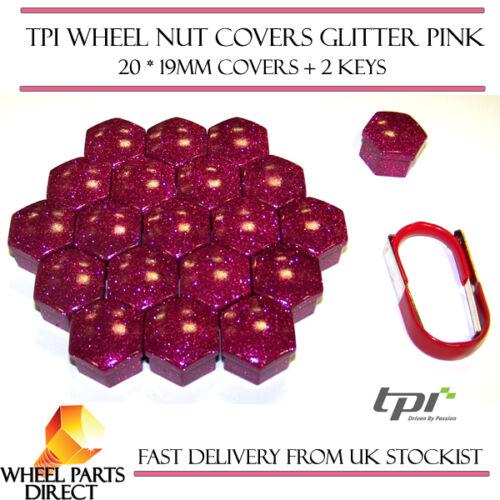 TPI Glitter Rosa Ruota Bullone Dado Coperture 19mm PER RENAULT CLIO SPORT 200 mk3 09-14