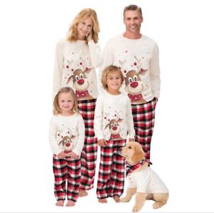 Family Matching Christmas Pajamas Parent-child Sleepwear Sets Xmas Outfit Suit