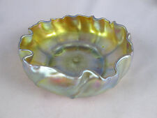 "Antique Tiffany Favrile Art Glass 6 1/4"" Ruffled Bowl Signed LCT Iridescent Gold"