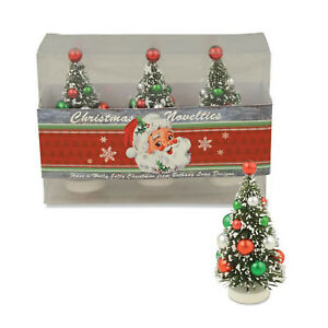 Set-3-Bethany-Lowe-Mini-Bottle-Brush-Tree-Christmas-Retro-Vntg-Style-Decor