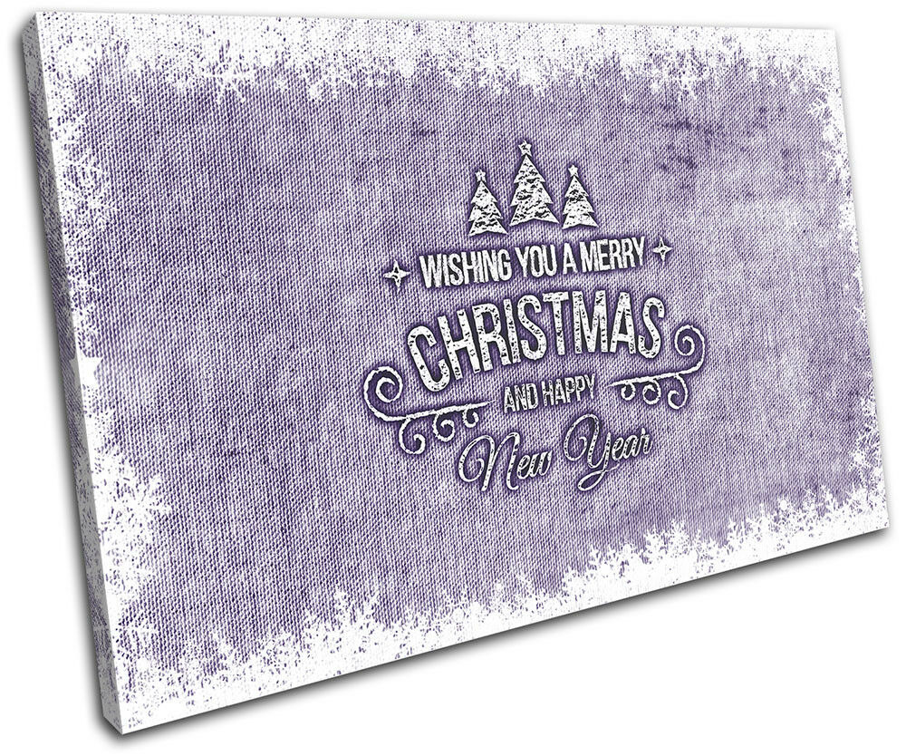 Christmas Decoration Wall Canvas ART Print XMAS Picture Gift Hessian 03 violet C