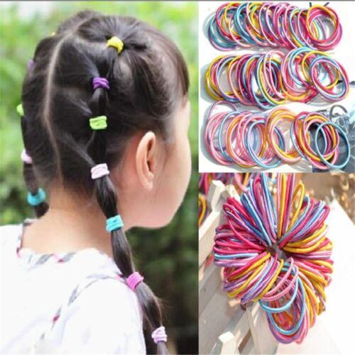 100 Stück Baby Damen Kinder Mädchen Elastisch Bunt Haargummi Haarbänder