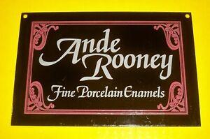 vintage-rare-Porcelain-Enamel-ANDE-ROONEY-DEALER-Sign-ADVERTISING-Ande-Rooney