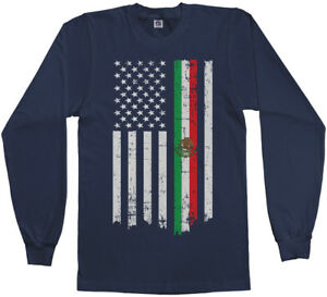 Mexican American Flag Men s Long Sleeve T-Shirt Mexico Descent US ... 319a459ab
