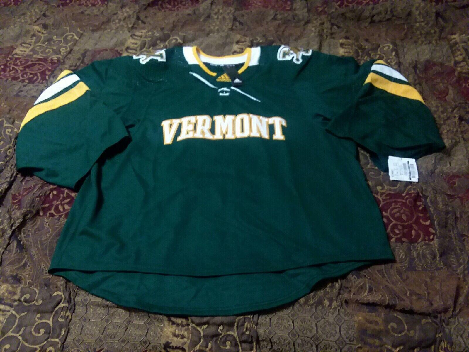 adidas Authentic Vermont Catamounts NCAA Hockey Jersey Size 54