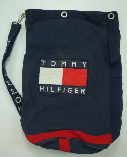 Rare Vintage TOMMY HILFIGER Spell Out Strap Flag P