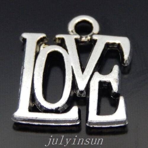 40PCS Antique Silver Alloy Love Words Pendant Charms DIY Accessories 50417
