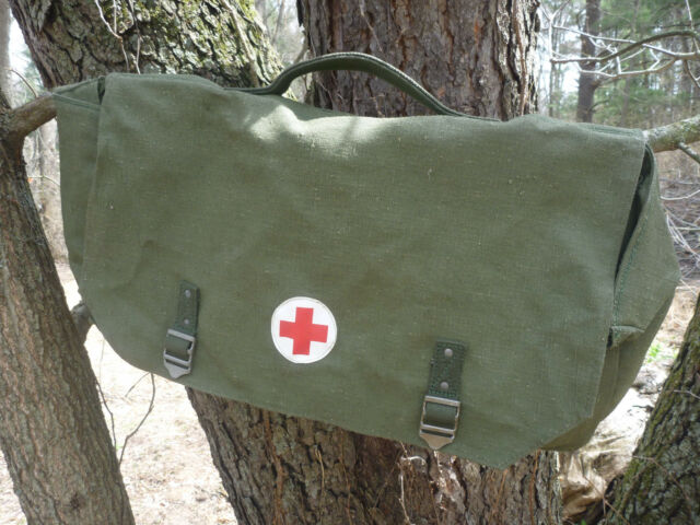 Swedish military bicycle pannier, 6 pockets, NOS, medic  [Support Lore!]