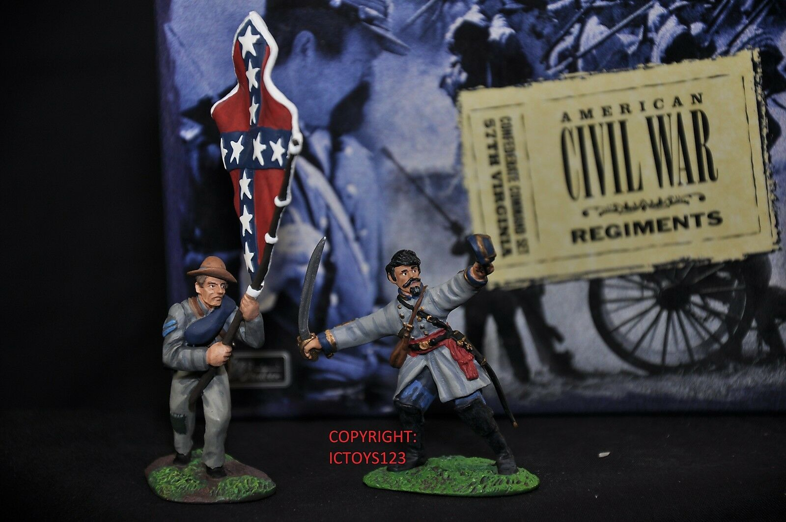 BRITAINS 17111 CONFEDERATE 57TH VIRGINIA METAL TOY SOLDIER FIGURE COMMAND SET