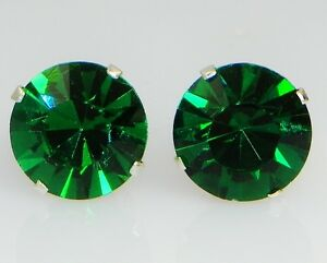 (3mm - 10mm) Crystal Emerald Sterling Silver Earrings Using Swarovski Elements