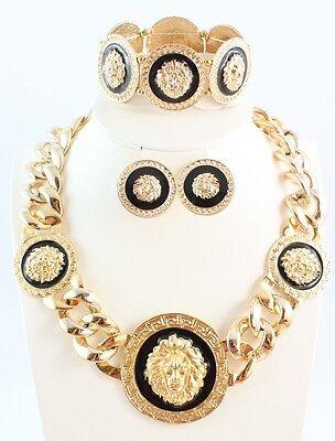 Vintage Enameled Lion Head Necklace Bracelet Earrings Women's Jewelry Set