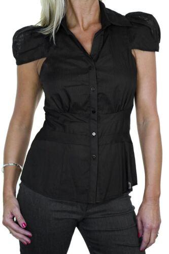 Womens Cap Sleeve Button Shirt Top Black 8-16
