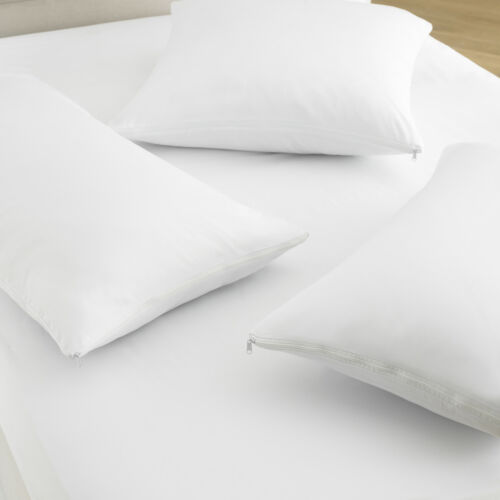 100/% Cotton Anti allergy dust waterproof zipper white pillow protector pair