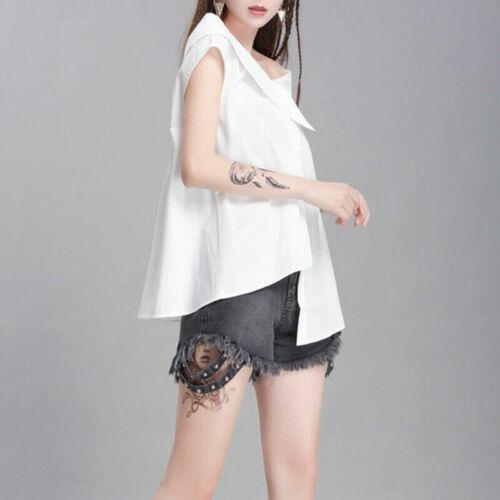 Women Off Shoulder T-shirt Tops Shirt Tie Waist Blouse Lolita Asymmetric YM0