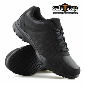 Slip Resistant Black Trainers Shoes UK