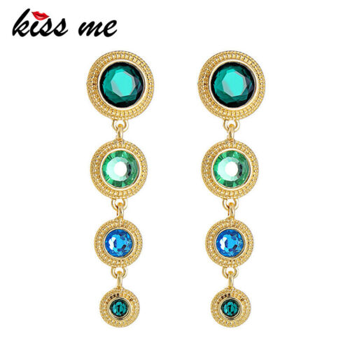 925 Silver Post Gold Color Resin Green Round Palace Style Earrings ed01625c
