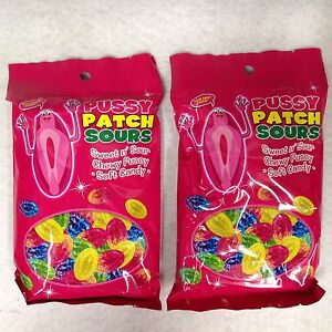 2 Pussy Patch Sour Gummy Candy Chewy Soft Avg 20 Bag Birthday Bachelor Gag Gift Sexual Wellness