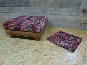 Alexander-James-Rossetti-footstool-ruby-red-velvet-tan-leather-oak-Chesterfield